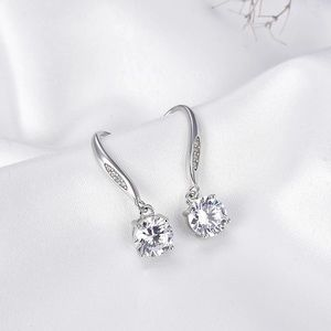 Real 925 Sterling Silver CZ drop charm earrings